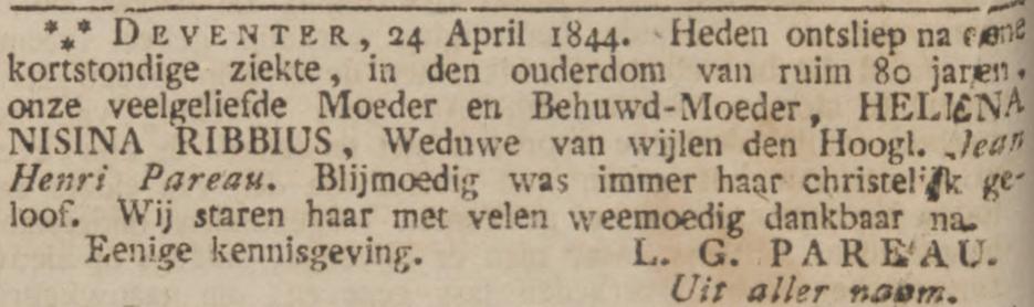 Helena Nisina Ribbius, weduwe van Jean Henri Pareau, sterft op 24 april 1844 in Deventer, rouwadvertentie