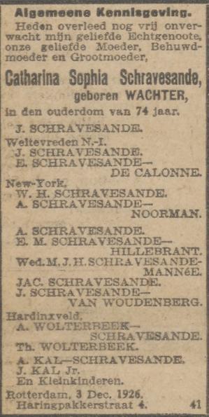 Sophia Catharina Wachter, de moeder van Johannes Schravesande (1878) sterft op 4 december 1926 in Rotterdam