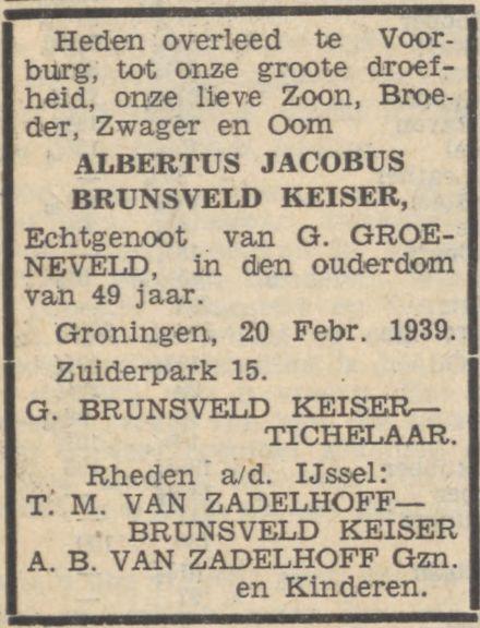 Rouwadvertentie van Tichelaar en anderen bij de dood van Albertus Jacobus Brunsveld Keiser op 20 februari 1939