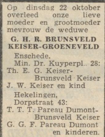 Rouwadvertentie Gine Henderieka Rensine Brunsveld-Keiser op 22 oktober 1957 in Enschede