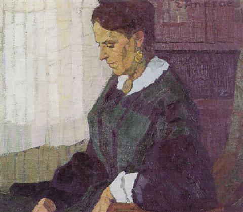 Geschilderd portret van 'Helene Pareau', hoogstwaarschijnlijk Louisa Helena Schmidt de vrouw van Alexander Martinus Pareau. Gemaakt door Elisabeth Louise Andrae
