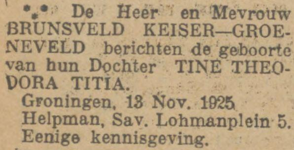 Geboorte-advertentie Tienke (TTT) Brunsveld Keiser op 13 november 1925 in Groningen