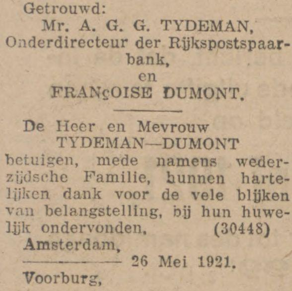 Fransje (JMW) Dumont en Bert (AGG) Tydeman trouwen op 26 mei 1921 in Voorburg, advertentie