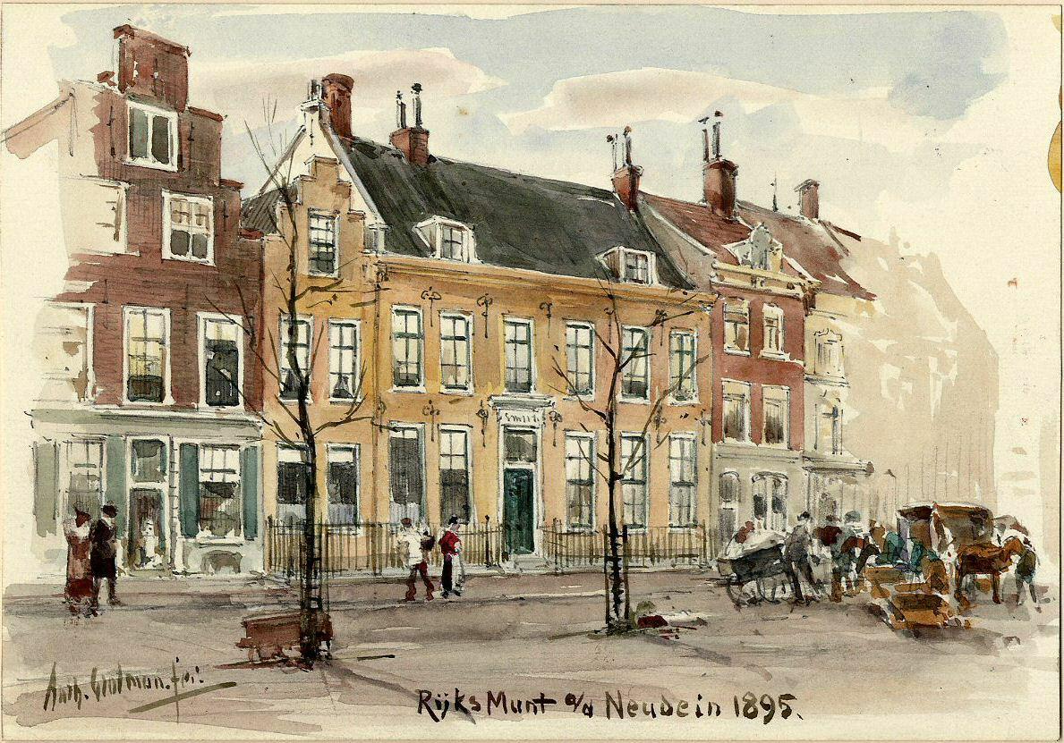 Neude 18 helemaal links, winkel van de firma CH Dumont. Tekening van AE Grolman uit 1895