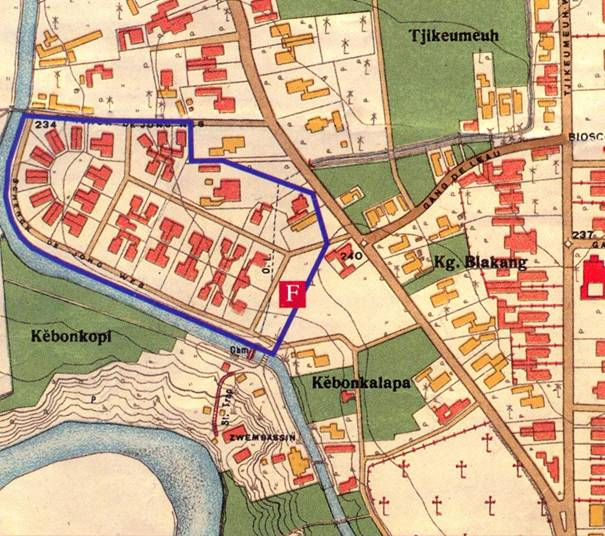 Plattegrond van Jappenkamp 'Kota Paris', 2e Wereldoorlog