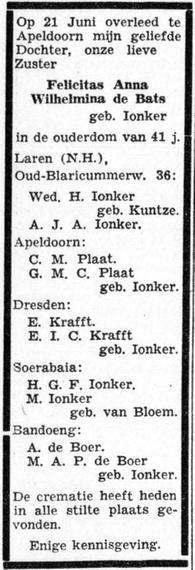 Rouwadvertentie van de familie Ionker bij de dood op22 juni 1949 van Felicitas Anna Wilhelmina Ionker, echtgenote van Johannes Daniel de Bats
