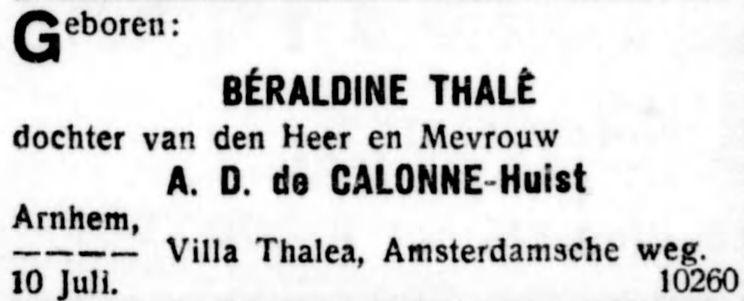 Geboorte Beraldine Thale (Bobby) de Calonne op 10 juli 1921 in Arnhem., krant