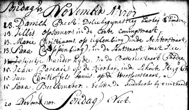 Sterfakte Jean Pareau, Amsterdam 15 november 1707