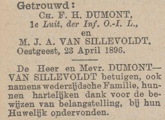 Dankadvertentie na het huwelijk tussen Charles Francois Henri Dumont en Maria Johanna Antonia van Sillevoldt op 23 april 1896 in Oegstgeest
