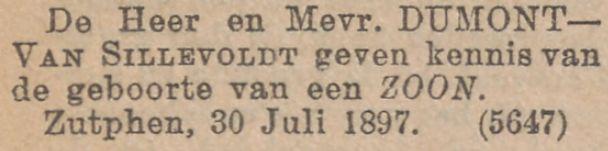 Geboorte van Jean Benjamin Dumont op 30 juli 1897 in Zutphen. Zoon van Charles FH Dumont en Maria JA van Sillevoldt