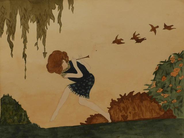 'Fluitiste', tekening van Puck Drognat Doeve