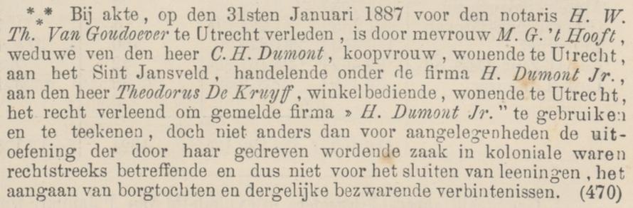 Gosuina Dumont-'t Hooft machtigt de heer de Kruyff om de winkel te leiden. Statscourant, 5 februari 1887