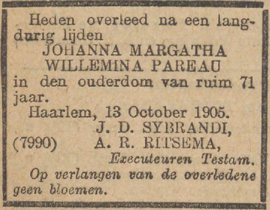 Johanna Margaretha Wilhelmina Pareau sterft op 13 oktober 1905 in Haarlem