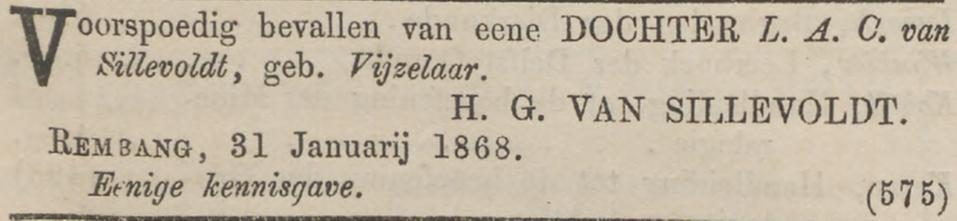 Maria Johanna Antonia van Sillevoldt geboren op 31 januari 1868 in Rembang, Java, Nederlands Indië
